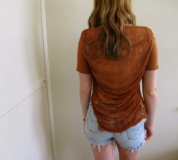 Brown Shredded Back See Through Crop Top