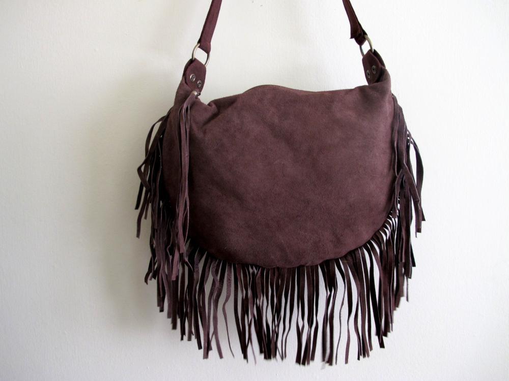 Suede brown fringe bag on luulla JPG 1000x750 Brown fringe bag 4994cb41f37b1