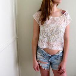 White See Through Floral Crop Top