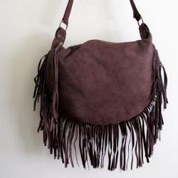 Suede Brown Fringe Bag