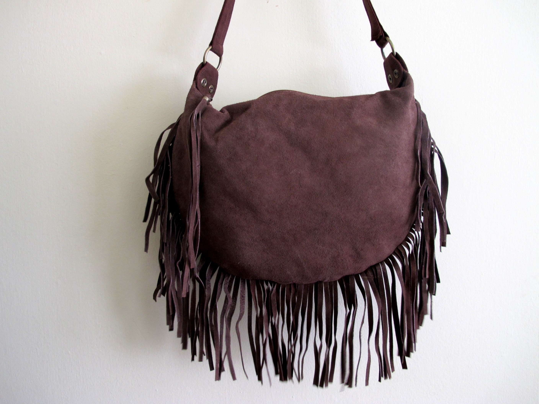 ba55d86e1fb Suede Brown Fringe Bag on Luulla